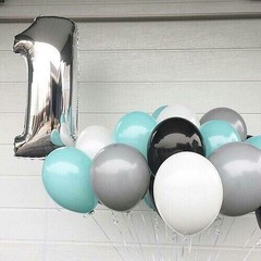 Воздушный шар (40''/102 см) Цифра, 1, Серебро, 1 шт.
