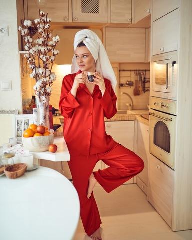 пижамный костюм красный