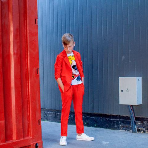 Дитячий підлітковий річний брючний костюм в червоному кольорі для хлопчика