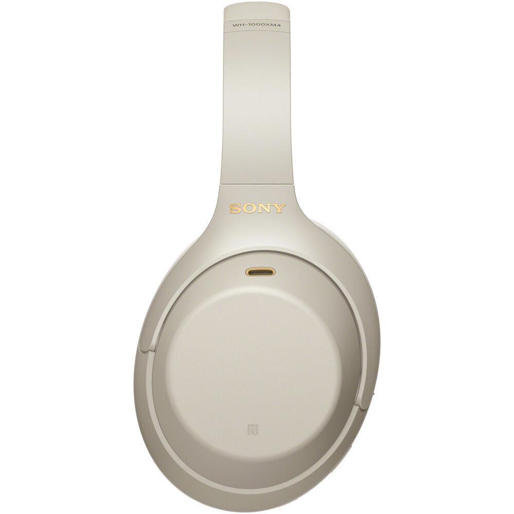 Беспроводные наушники Sony WH-1000XM4S серебристого цвета с шумоподавлением