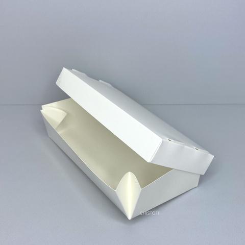 Коробка для суши (крышка+дно) 100х200х50 мм белая