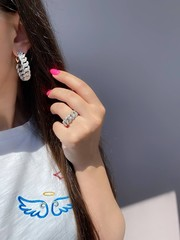 47832- Кольцо-дорожка CHAIN из серебра с цирконами, ширина 7мм