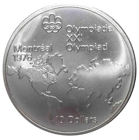 10 долларов 1973. Канада (XXI летние Олимпийские Игры, Монреаль 1976 - Карта мира). AU. Серебро