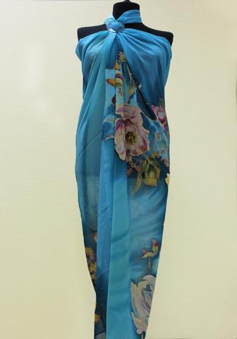 Парео Голубые цветы