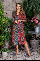 Платье-рубашка из вискозы красный принт