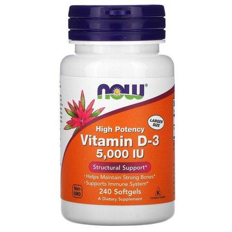 Высокоактивный витамин D-3, 125 мкг (5000 МЕ), 240 капсул Now Foods