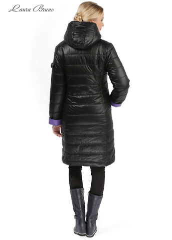 Куртка 2в1 зимн. Laura Bruno двухсторонняя черно-сиреневая для беременных