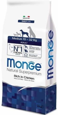15 кг. MONGE Сухой корм для собак средних пород с курицей Dog Medium Adult