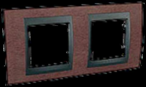 Рамка на 2 поста. Цвет Табачное дерево-графит. Schneider electric Unica Top. MGU66.004.2M4