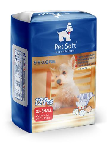 Pet Soft одноразовые впитывающие подгузники для животных (размер XXS) 12 штук