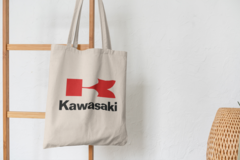 Сумка-шоппер с принтом Кавасаки (Kawasaki) бежевая 0011