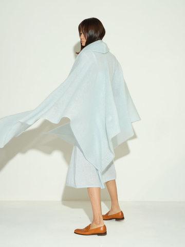 Женский шарф голубого цвета из мохера и шерсти - фото 3
