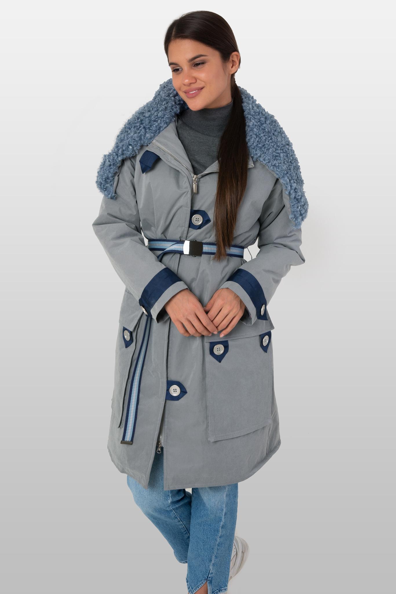 Куртка парка с голубым кудрявым капюшоном из эко-меха