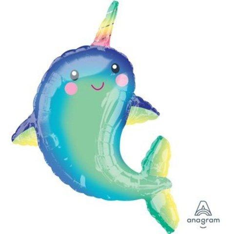 Шар фигура Дельфин с радужным рогом
