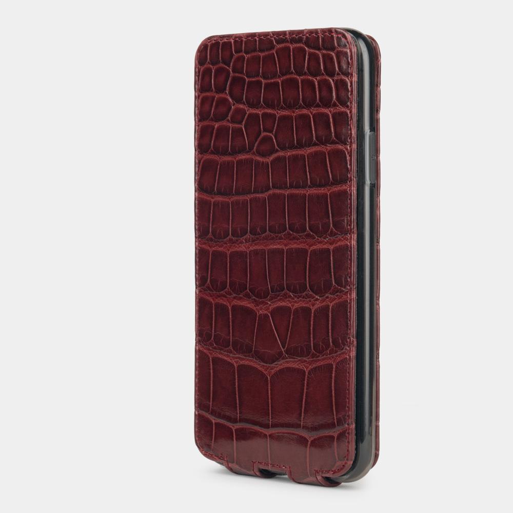 Special order: Чехол для iPhone 11 Pro Max из натуральной кожи крокодила, цвета бордовый лак