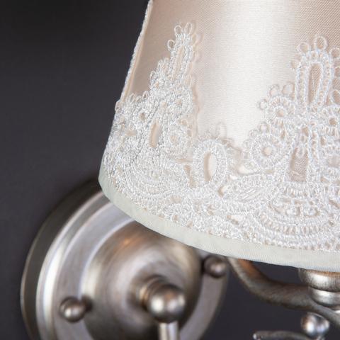 Бра в классическом стиле с абажуром 60069/1 серебро