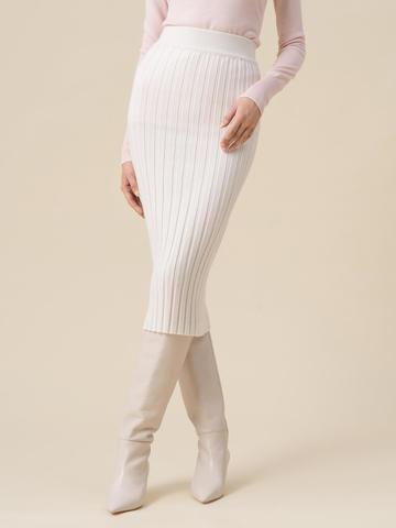Женская юбка молочного цвета из 100% кашемира - фото 4