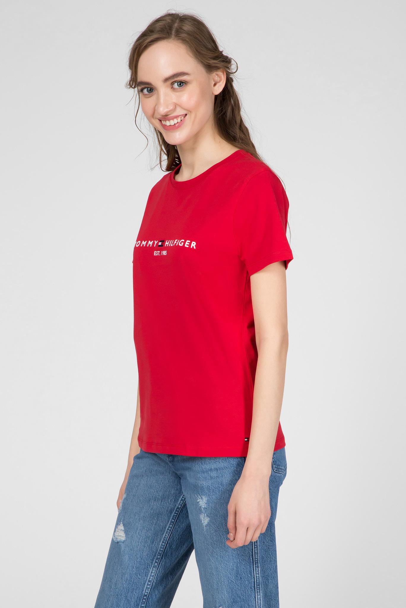 Женская красная футболка NEW TH ESS Tommy Hilfiger