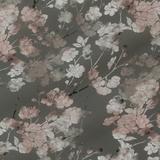 Серый шёлковый крепдешин в розах