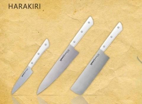 Набор из 3-х ножей Samura Harakiri Овощной 100 мм, Накири 165 мм и Шеф 200 мм, белая рукоять