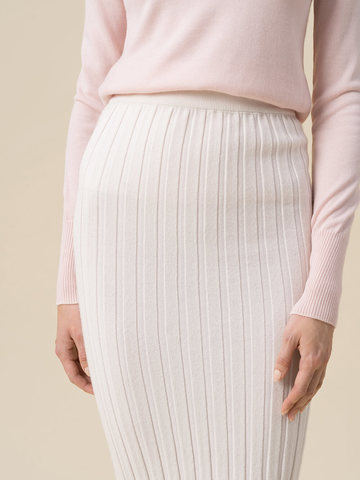 Женская юбка молочного цвета из 100% кашемира - фото 3