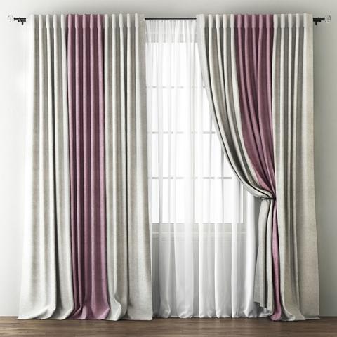 Комплект штор с подхватами Карин кремовый-розовый