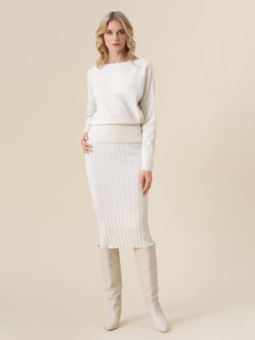 Женская юбка молочного цвета из 100% кашемира - фото 5