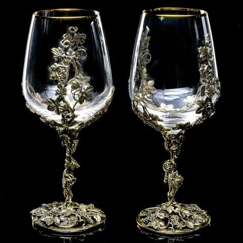 Набор  бокалов для вина «Виноградная лоза» серебрение