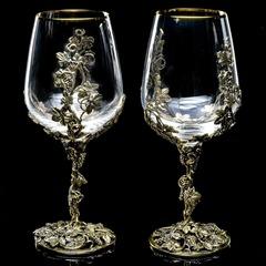 Набор  бокалов для вина «Виноградная лоза» серебрение, фото 1