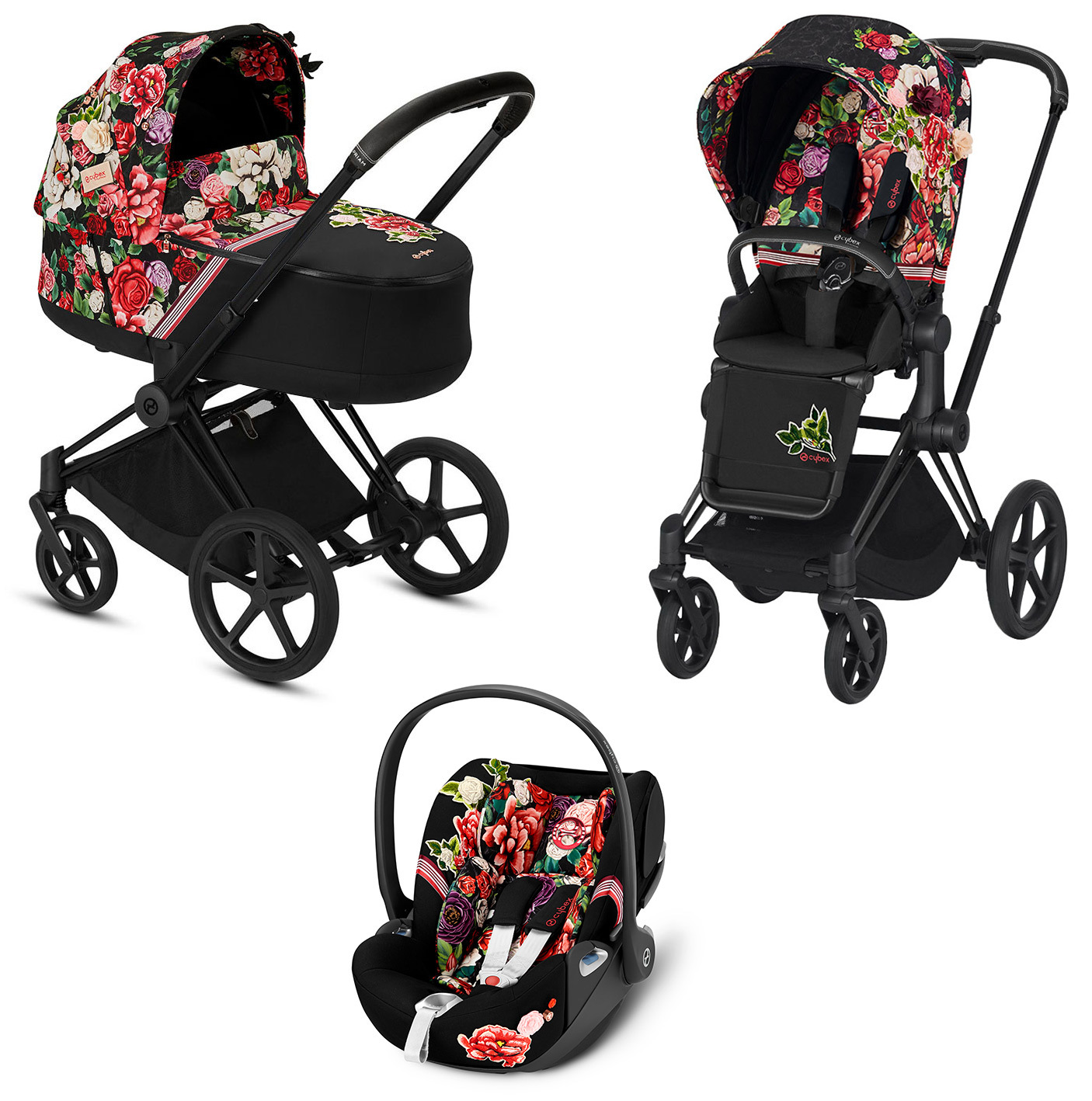 Цвета Cybex Priam 3 в 1 Детская коляска Cybex Priam III 3 в 1 FE Spring Blossom Dark шасси Matt Black cybex-priam-iii-3-in-1-spring-blossom-dark-matt-black.jpg