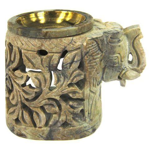 Аромалампа Elephant камень c бронзовой чашей, 8 см