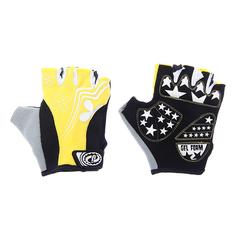Велоперчатки JAFFSON SCG 47-0122 (чёрный/белый/жёлтый)