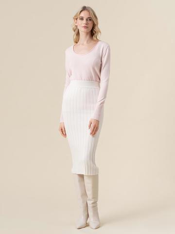 Женская юбка молочного цвета из 100% кашемира - фото 2