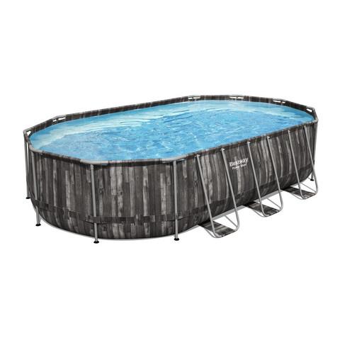 Каркасный бассейн Bestway Wood Style 5611R (610х366х122 см) с картриджным фильтром, лестницей и тентом / 25298