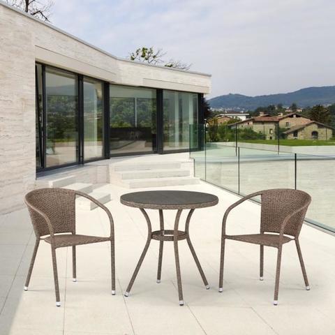 Комплект плетеной мебели из искусственного ротанга T282ANT/Y137C-W56 Light brown