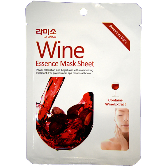 Антифозрастная маска-салфетка с экстрактом красного вина La Miso