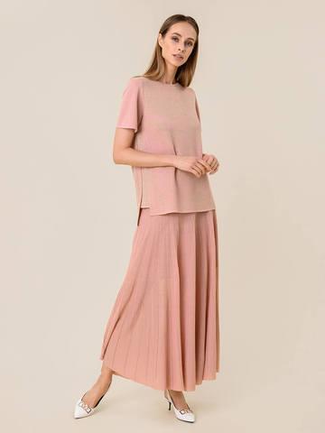 Женская юбка-плиссе светло-розового цвета из вискозы - фото 2