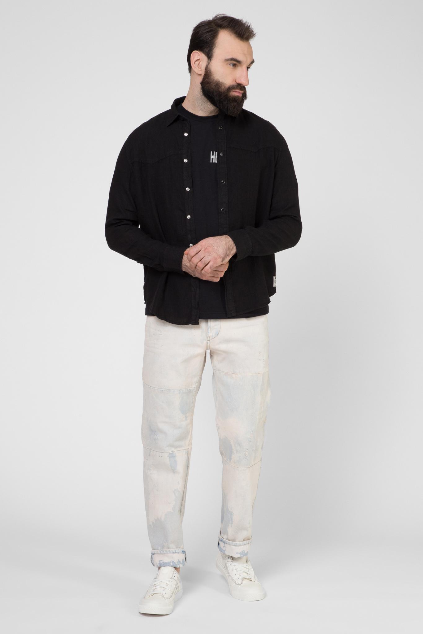 Мужская черная льняная рубашка S-PLAN-B Diesel