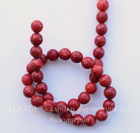 Бусина Коралл (искусств), шарик с огранкой, цвет - красный, 10 мм, нить ()
