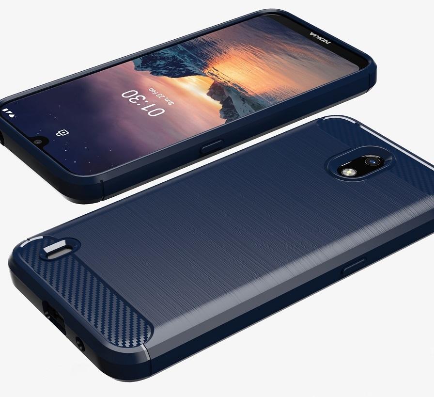 Мягкий чехол темно-синего цвета на Nokia 1.3, серия Carbon от Caseport