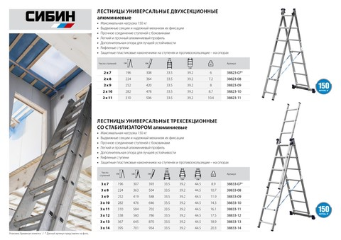 Лестница СИБИН универсальная, двухсекционная, 11 ступеней
