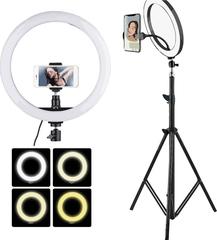 кольцевая светодиодная led-лампа для студийной съемки ring fill light 26 см со штативом