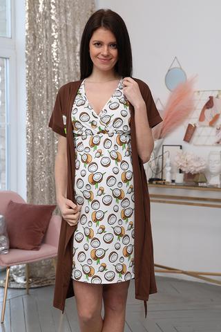 Комплект для беременных и кормящих с халатом и сорочкой 12736 белый-коричневый