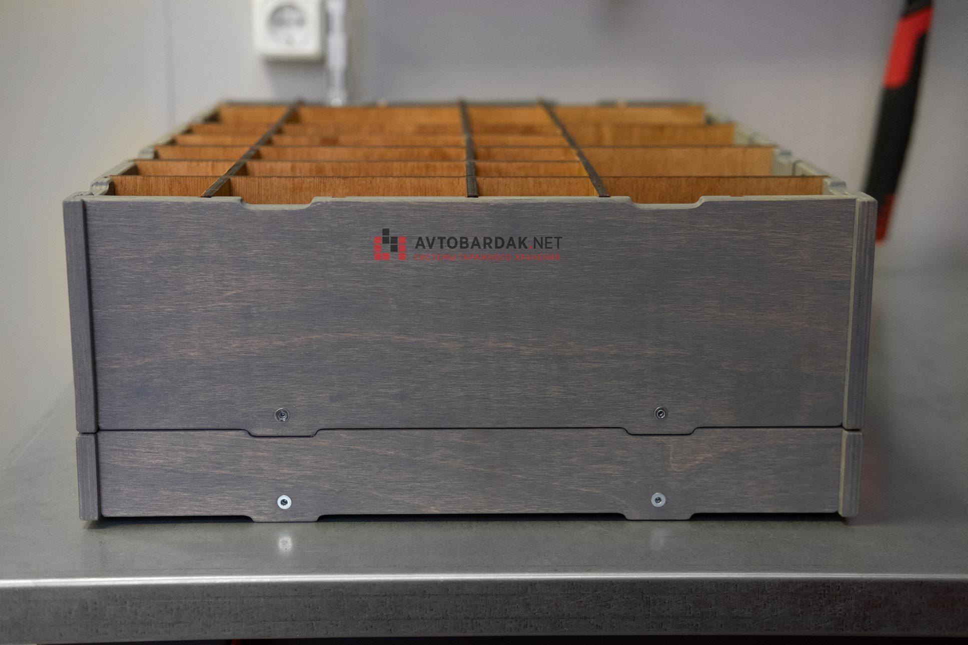 Деревянный инструментальный ящик с перегородками (совместим с тумбой ТВК)