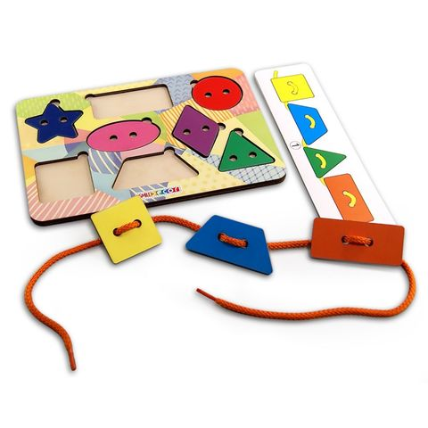 Развивающая игра шнуровка Геометрические фигуры, Smile Decor, арт. П625
