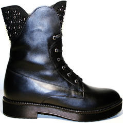 Ttucino обувь ботинки женские зима на шнуровке кожаные с мехом на низком каблуке Tucino
