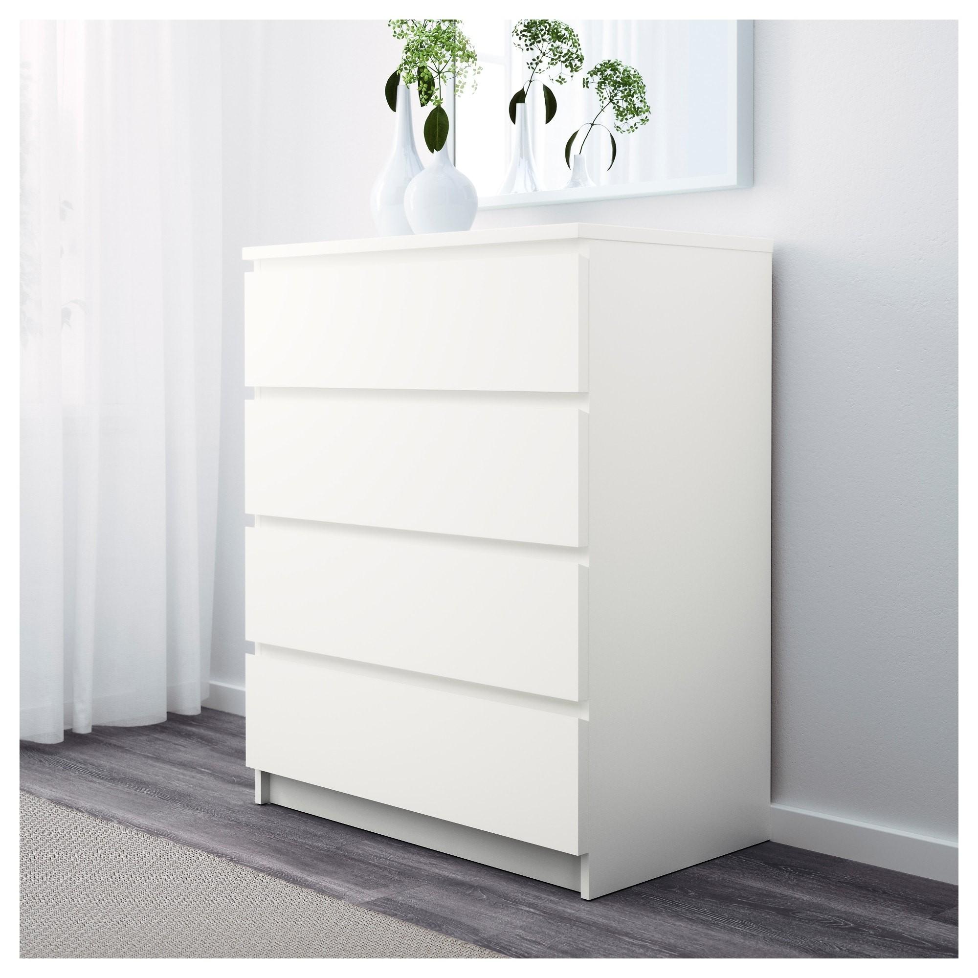 МАЛЬМ Комод с 4 ящиками белый