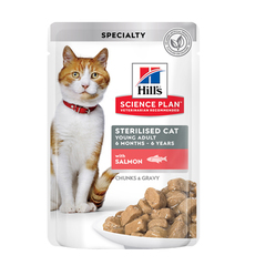Пауч для стерилизованных кошек и котят с 6 месяцев Hill`s Science Plan Sterilised Cat Young Adult, с лососем