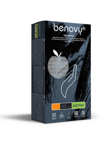 Перчатки медицинские смотровые нитриловые Benovy нестерильные неопудренные размер М Черные (50 пар в упаковке) Краснодар