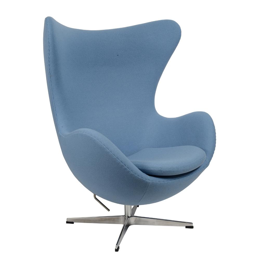 Кресло Arne Jacobsen Style Egg Chair голубая шерсть - вид 1